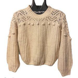ALL IN FAVOR - Pom Pom Mock Neck Knit Sweater